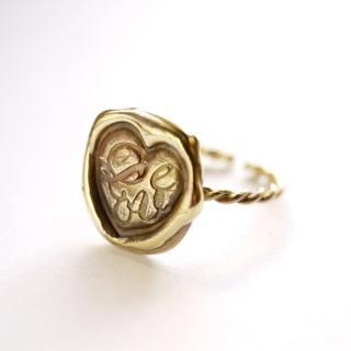 《Wax Seal Jewelry》 ハンドメイドリング 真鍮 〜Love〜
