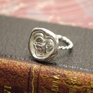 《THE LETTERS》HANDMADE RING Love[愛] 〜真実の愛〜 silver 色石入り