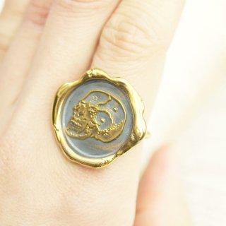 《Wax Seal Jewelry》ハンドメイド ロープリング 〜Skull〜 真鍮