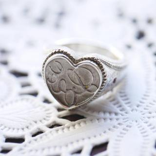 《THE LETTERS》SIGNET RING HEART Love[愛] 〜真実の愛〜  hummer silver