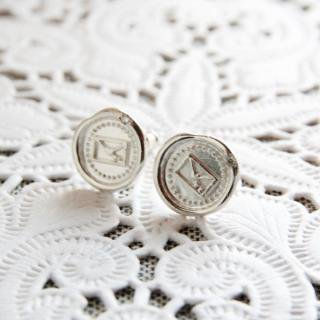 《THE LETTERS》WAXSEAL JEWELRY HANDMADE PIERCE silver  ~MINI LETTER~