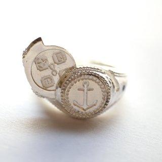 《Wax Seal Jewelry》 ロケットリングS シルバー ハンマー仕上げ イカリ〜ANCHOUR〜