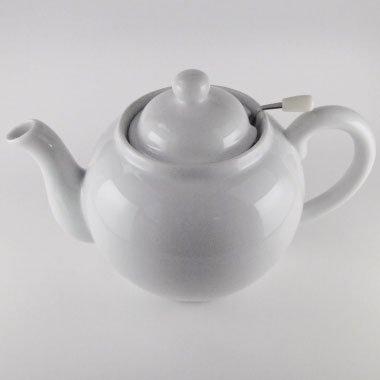 美濃焼紅茶ポット中丸型 網付き(白無地)