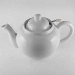 美濃焼紅茶ポット大丸型 網付き(白無地)