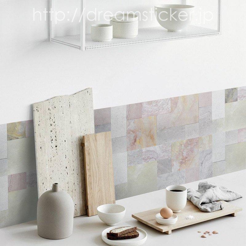 リアルストーンタイルシール Slicel RST-04 ムーングレー 【 キッチン 洗面所 トイレの模様替え 壁紙デコレーション  】 39×15.4センチ