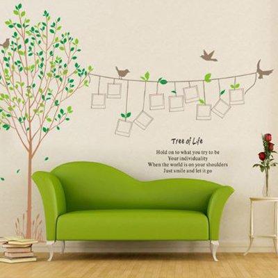 ウォールステッカー グリーン ツリーオブライフ 木と小鳥  AY215