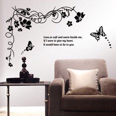 ウォールステッカー モノトーン バタフライ&フラワー 花と蝶 AY817