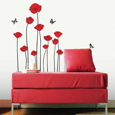 ウォールステッカー 赤い花 シンプルフラワー 植物 SS58218