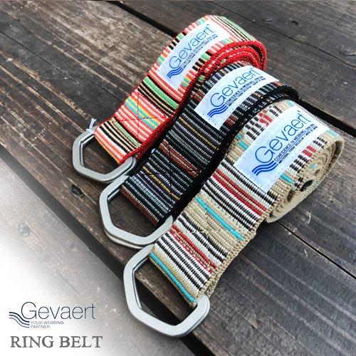 ベルギーゲバルト【GEVAERT】RASTA STRIPE W-RING BELT 8 COLOR(ラスタストライプダブルリング ベルト/3色)