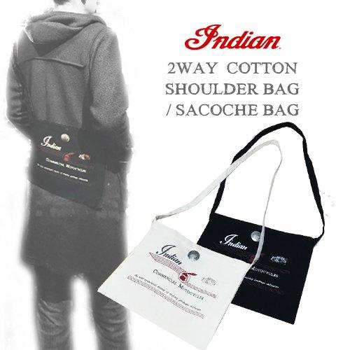 インディアンモトサイクル【INDIANMOTOCYCLE 】2WAY COTTON SHOULDER BAG/SACOCHE BAG(コットンショルダーバッグ/サコッシュバッグ/クラッチバッグ)