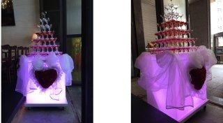 イベント用移動式シャンパンタワー7段出張設置