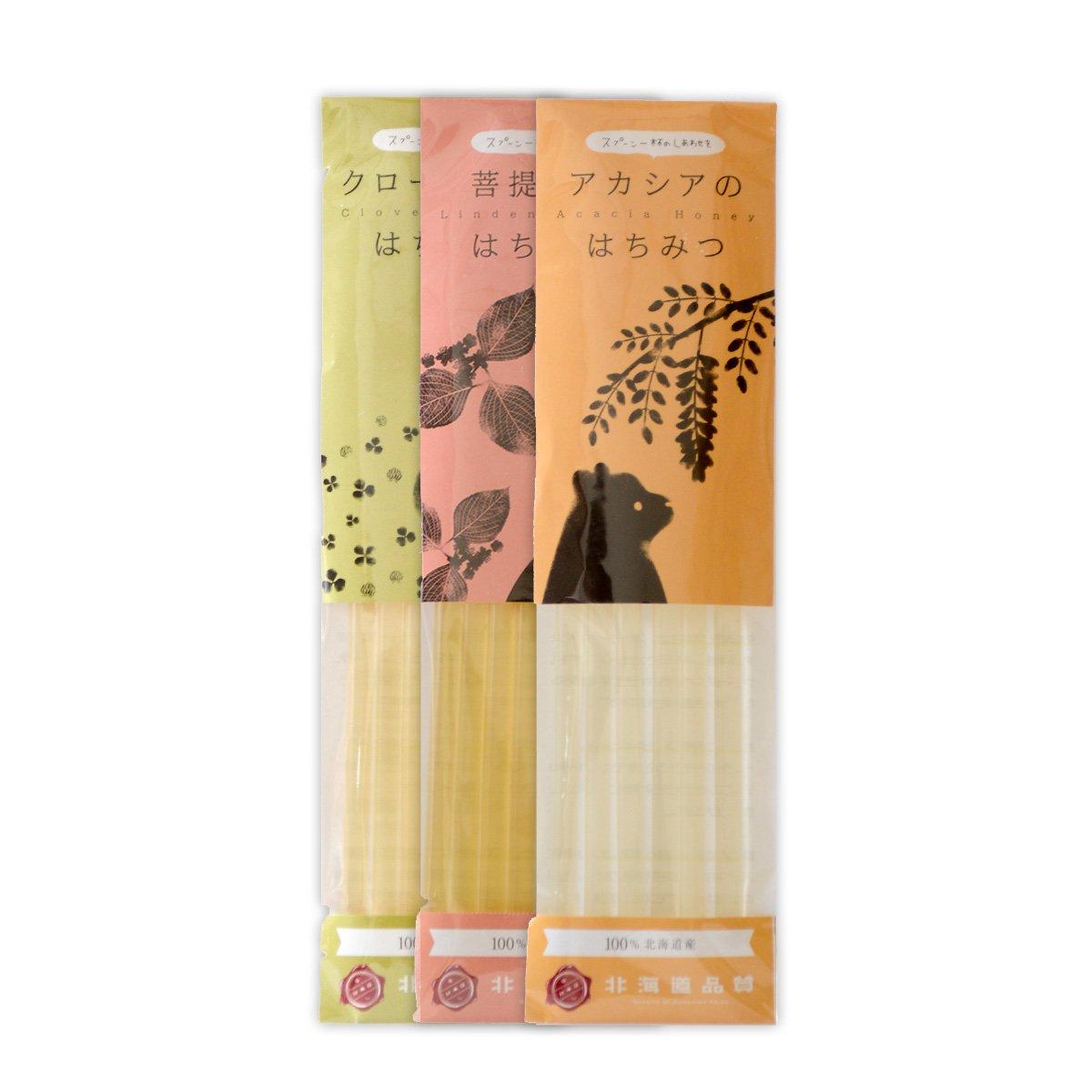 北海道産 はちみつストロー 3点セット(6g×6本入 各1袋)