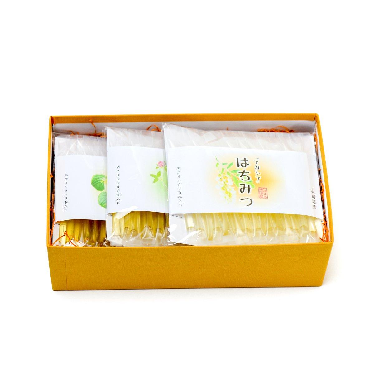 北海道産スティック蜂蜜 3種ギフトセット(2.5g×40本入り各1セット)