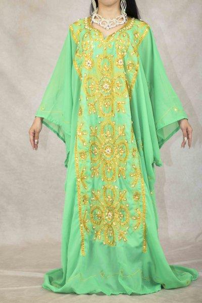 エジプト製 ハリージドレス yellowgreen