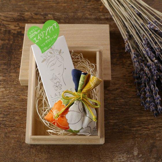 桐の小箱とリップと匂い袋セット