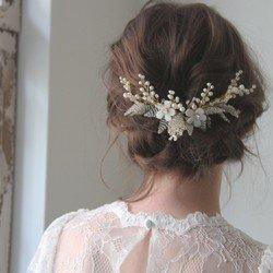 花とビーズビシューのウエディング ヘッドアクセ和装、成人式の髪飾りヘッドドレスに【ロベルタ】