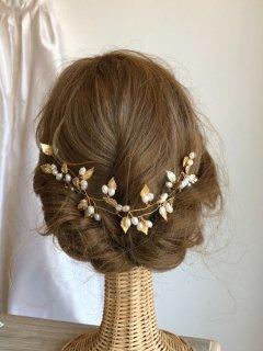 ブライダル ウェディング 葉と木の実のパール冠 ウエディング ヘッドアクセ和装髪飾りヘッドドレスに【リーフロング冠】