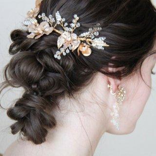 ブライダル ウェディング goldヘッドドレス ヘッドアクセ和装髪飾りヘッドドレスに【マルゴーヘッドアクセ】