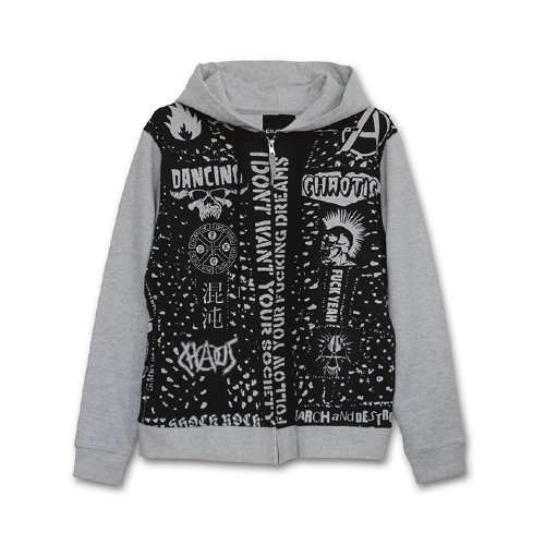 CHAOTIC / STUDED ZIP HOODY