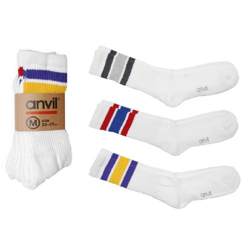 ANVIL / 3P Crew top line socks(White)