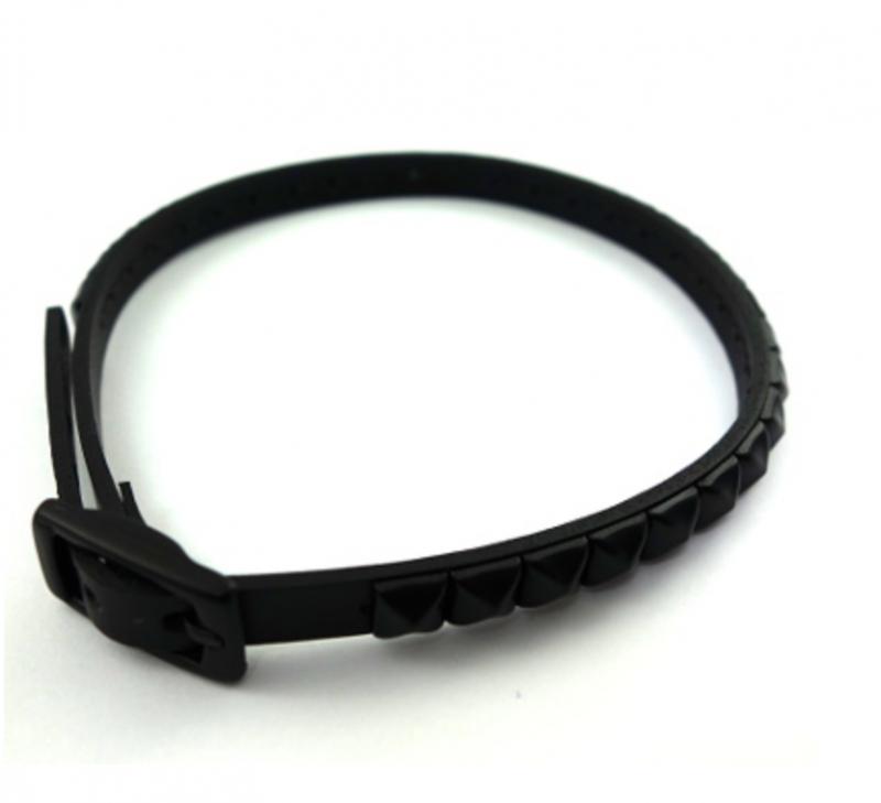 SELECT /Studs Slim Leatherchoker(Silver/Black)