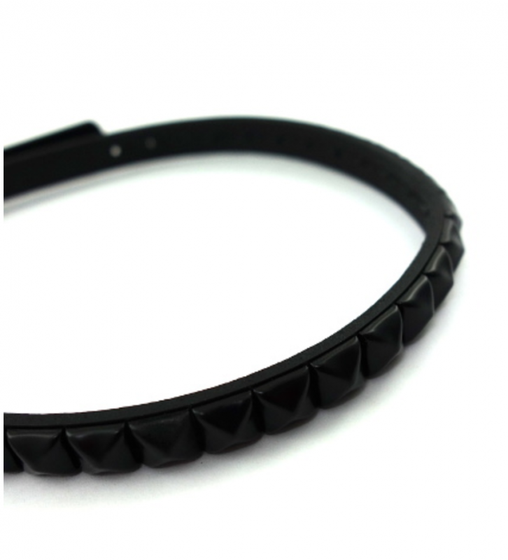 SELECT /Studs Slim Leatherchoker(Silver/Black)