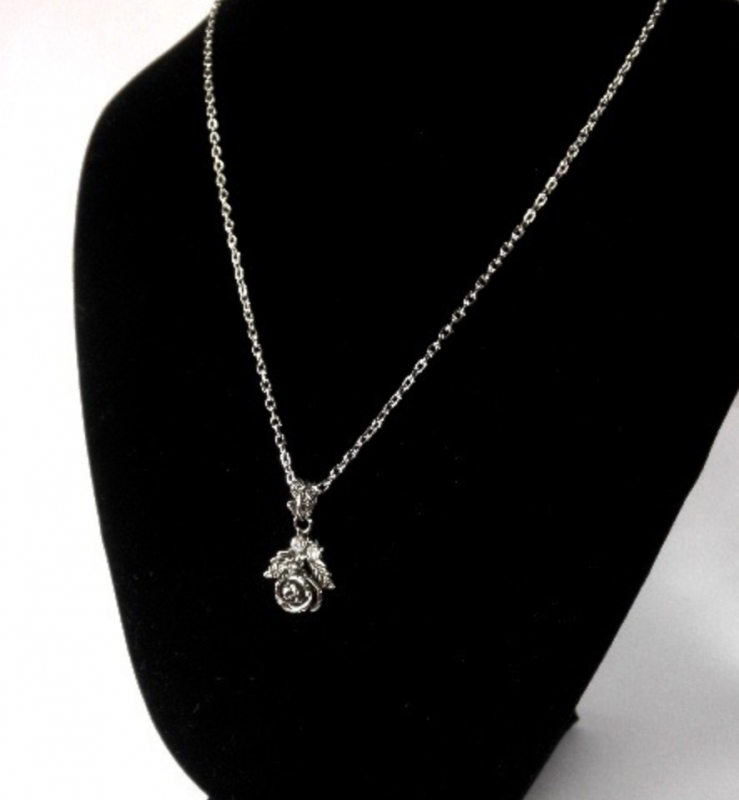 SELECT / Rose necklace(Black/Silver)