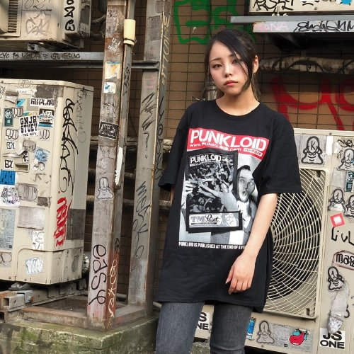 PUNKLOID / NewsPaper Tee (BLACK)ラバーバンド付