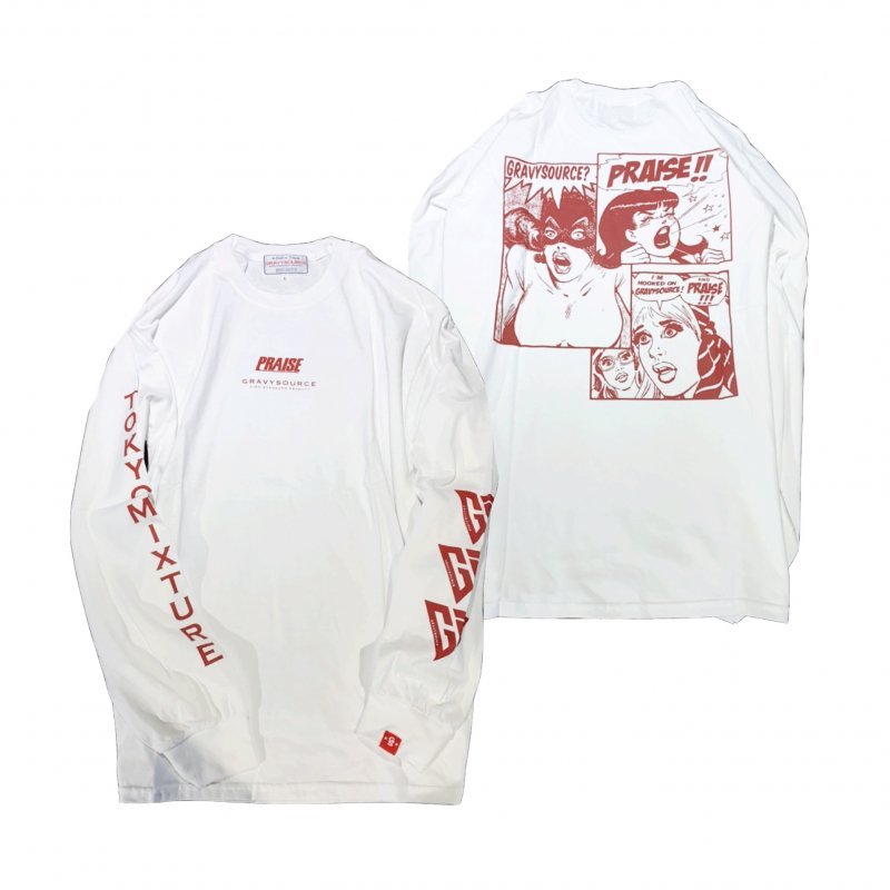 PRAISE × GRAVYSOURCE Long Sleeve T-shirts(White/red)