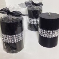 Black Pillar Diamante Design Candles.