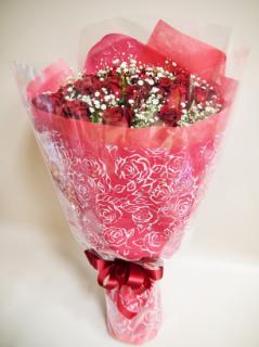 <予約商品>赤いバラ・サムライとカスミソウの花束(サムライ10本+カスミソウ)