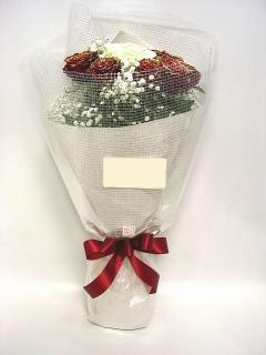 <予約商品>赤ゴールドラメバラと 白大輪のバラの花束