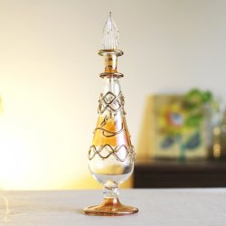 エジプトガラス香水瓶 <br>【リーフティアドロップ/イエロー】