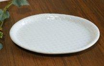 砥部焼◆布目楕円皿...網目白