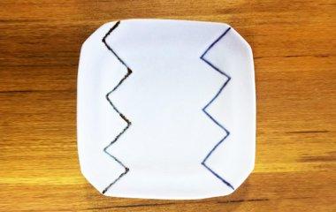 梅乃瀬窯,一辺約14cm×高さ2cm,磁器