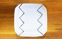 砥部焼◆角皿 (ジグザグ)