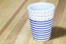 砥部焼◆ フリーカップ (カラードットと独楽)
