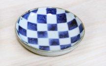 砥部焼◆4寸丸皿 市松