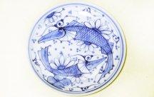 砥部焼◆尺皿 魚紋