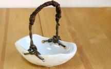 砥部焼◆蔓手のバスケット 舟型