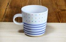 砥部焼◆ マグカップ (カラードットと独楽)
