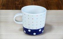 砥部焼◆ マグカップ (水玉とカラードット)