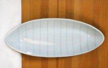 砥部焼◆舟形長皿…ボーダー