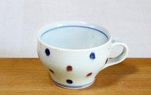 砥部焼スープカップ■水玉(赤&青)