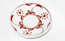 砥部焼◆切立丸皿(4.6寸)■赤太陽
