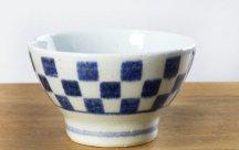 砥部焼◆くらわんか茶碗 市松