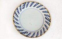 砥部焼◆8寸リム皿■波紋