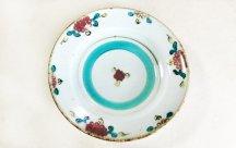 砥部焼◆6寸リム皿 釉裏紅...花 6