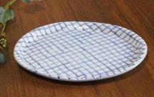 砥部焼◆布目楕円皿...網目青