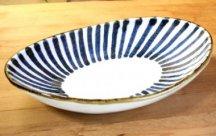 砥部焼◆楕円浅鉢(大)とくさ